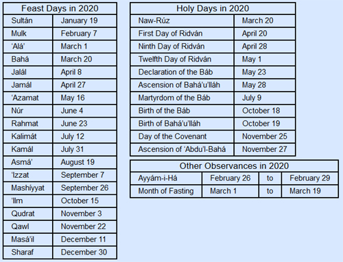 Baha'I Calendar 2021-2022 Feast and Holy Day Dates