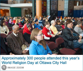 Approximately 300 people attended this year's World Religion Day at Ottawa City Hall